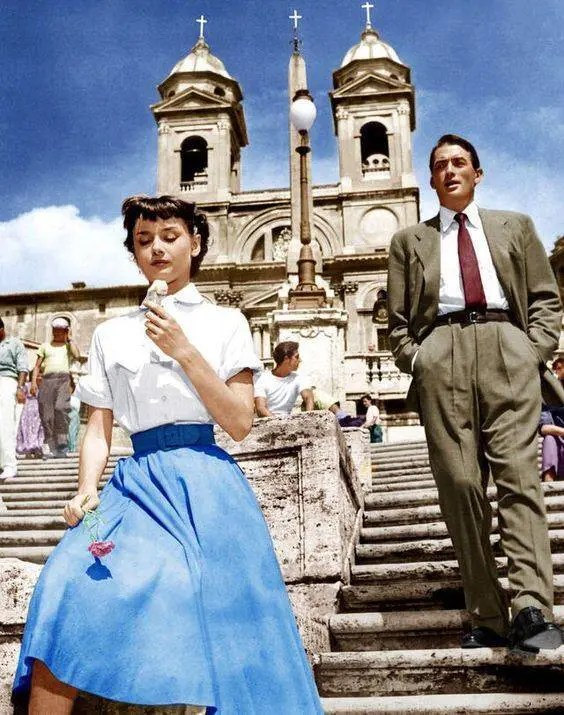 Audrey Hepburn and Gregory Peck, 1953.