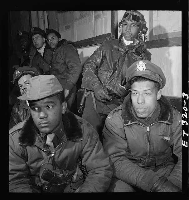 Portrait of a group of Tuskegee airmen