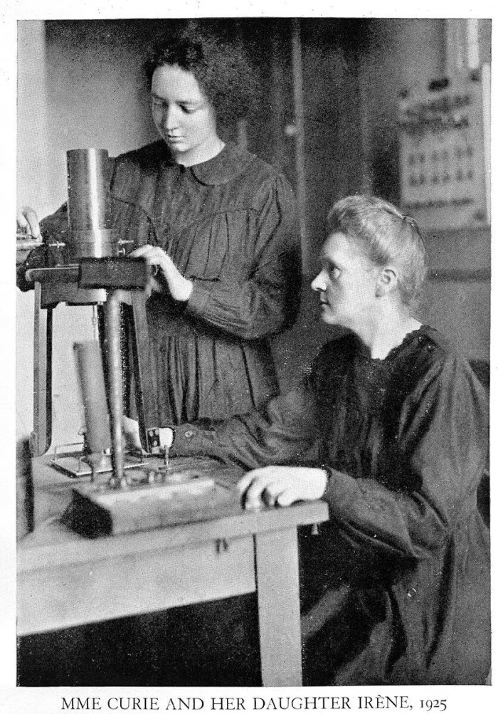 Portrait of Marie Skłodowska Curie and her daughter Irène Joliot-Curie at work in 1925.