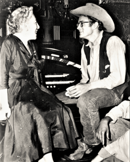 1955 on the set of Giant. Author Edna Ferber talking with actor James Dean. Ferber wrote Giant while living on Maple Road in Easton.