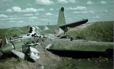 Burn-out wreckage of Soviet SB-2bis standard medium bomber in the Operation Barbarossa.