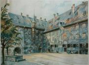 The Alter Hof in Munich. Watercolour by Adolf Hitler, 1914.