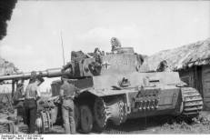 A Tiger tank undergoes repair from mine damage suffered early in the battle of Kursk.