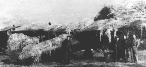 A camouflaged Polish P-11 fighter at a combat airfield.