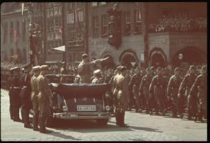 Hitler receives the salute of the Columns in Adolf Hitler Platz during the Reichs Party Congress in Nuremburg Germany.