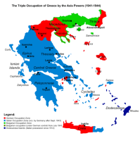 Map of occupied Greece showing the German and Italian occupation zones on Crete.