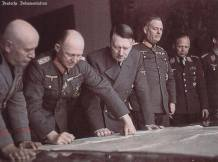 Mussolini, Jodl, Hitler, Keitel, and unknown Luftwaffe personnel.