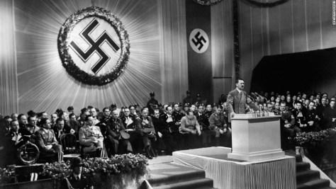 1939 - Shows Adolf Hitler giving a speech.