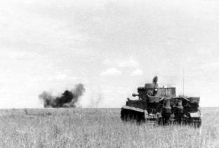 Tiger engaging a target at the Battle of Kursk.