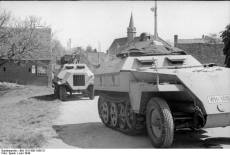 A close-up of the Sd.Kfz. 250/5 and the first 15 cm Panzerwerfer 42 in June, 1944.