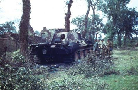 Ruined Panther near St. Gilles (or perhaps Hambye), France, 1944.