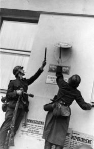 Soldats knock down the Polish plaque in Danzig.