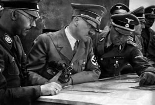 Himmler, Hitler, and SS officers.