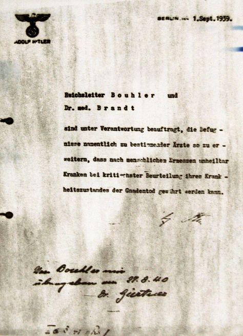 Hitler's order for Action T4, dated 1 September 1939.