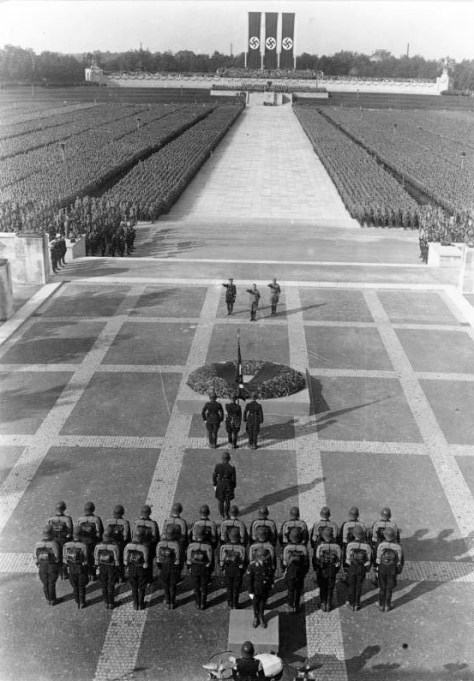 Ceremony honouring the dead (Totenehrung) on the terrace in front of the Hall of Honour (Ehrenhalle) at the Nazi party rally grounds, Nuremberg, September 1934.