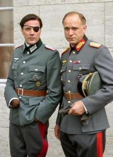 Actors dressed as Stauffenberg and Tresckow for the July 20th, 1944 assassination plot on Hitler.