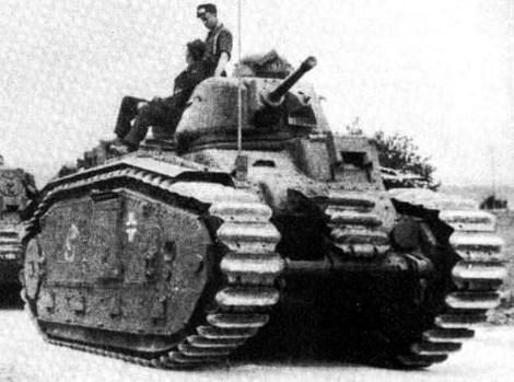 French-designed Char B1 bis tanks (Flammwagen auf Panzerkampfwagen B2 in German service) of Panzerabteilung .