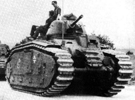 French-designed Char B1 bis tanks (Flammwagen auf Panzerkampfwagen B2 in German service) of Panzerabteilung .
