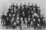 Future German dictator Adolf Hitler (back centre) with his fellow pupils at school in Lambach, Austria, 1899.