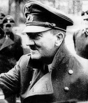 Hitler on 25 April 1945 in his last public appearance, in the garden of the Reich Chancellery, five days before he and Eva Braun committed suicide.