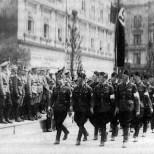 Maribor, Yugoslavia (today Slovenia), German military parade.