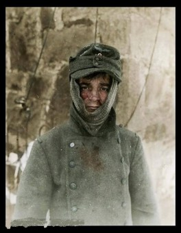 One of many German soldiers taken prisoner by the 26th US Infantry Regiment, 1st Infantry Division near Bütgenbach, in the Belgian province of Liège, January 1945.