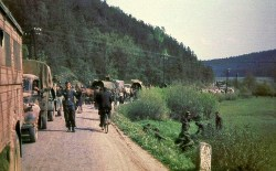 Picture taken late in May 1945 in Czechoslovakia, possibly a German retreat or even a surrendering ceremony.