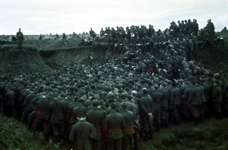 In one of the many eroded balkas (gullies) in the outskirts of Stalingrad, The Catholic army chaplain Kriegspfarrer Dr. Alois Beck is celebrating mass to absolves soldier's sins from an unidentified infantry battalion about to attack the city, autumn 1942.