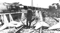 April 1941.German solder in front of a Yugoslav military blockade somewhere in today central Serbia.