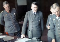 Hitler examines model of heavy fortifications and bunkers, September-October 1942 with Hellmuth Nickelmann.