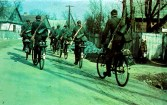 German soldiers reporting to their marshalling areas on bicycle before Operation Barbarossa begin. The regrouping of german units for deployment to Russia began as early as February/March 1941.