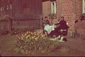 Quiet days in Johannisburg (East Prussia) with the blooming tulips while the war against Soviet Union was imminent, early summer 1941. Left is Oberleutnant Hermann Budenbender (Abteilungsadjutant Aufklärungs-Abteilung 35 / 35.Infanterie-Division) while at right is unknown Führer Panzerspähzug from the same unit.