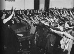 Most teachers in Nazi Germany were required to join the National Socialist Teachers League, which mandated that they take an oath of loyalty and obedience to Hitler. If their lessons did not conform to party ideals, they risked being reported by their students or colleagues.