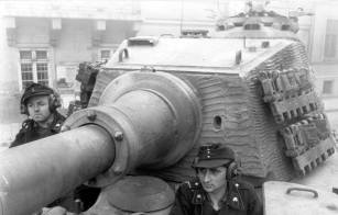 "A clear view of the angular front of the ""Henschel"" production turret, taken during Operation Panzerfaust in Budapest, 15 October 1944."