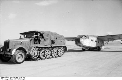 A Sd.Kfz. 8 towing a Gotha Go 242 glider.