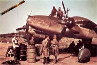 Arab native soldiers exam Messerschmitt Bf110.
