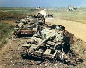 Wrecked Panzer IVs.