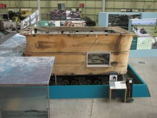 Sherman DD tank showing canvas flotation screen.