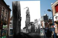 In the first image, traffic runs from the Basilica of Notre-Dame de Brebieres in Albert, France, on March 13, 2014. The second image presents a view of the basilica with the tilted statue of the Virgin after a shell hit the tower in 1915.