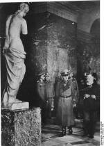 Rundstedt by Venus de Milo while touring The Louvre, occupied France, October 1940.