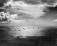 An Allied convoy heads eastward across the Atlantic, bound for Casablanca, in November 1942.