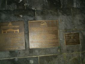 Battle of Remagen commemorative plaques on the wall of one of the bridge towers.