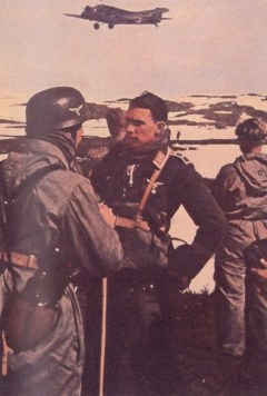 Fallschirmjäger in Norway 1940. In the background is Junkers Ju 52.