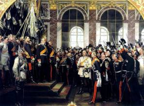 Anton von Werner's depiction of William's proclamation as Emperor; Frederick is standing behind his father, his brother-in-law, the Grand Duke of Baden leads the cheering.