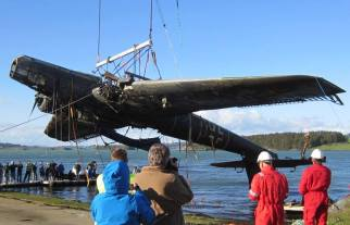 Heinkel He 115 being recovered from underwater from the fjord off Stavanger, Norway after 70 years.