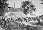 1917, Galicia, Ukraine --- Russian soldiers pass by a church while sprinting through fields during a battle in Ukraine's Galicia region during World War I.