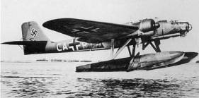 Wartime Nazi bomber: The Heinkel He-115 flying boat, pictured during World War Two, was used to attack shipping and in a reconnaissance role.