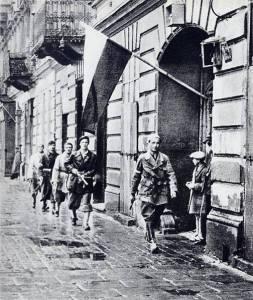 """Patrol of Lieut. Stanisław Jankowski (""""Agaton"""") from Batalion Pięść, 1 August 1944: """"W-hour"""" (17:00)."""