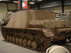 Backside of the Sturmpanzer or called the Brummbar by the Allies meaning Grouch at the Musée des Blindés - Tank Museum - France.