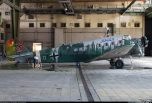 Junkers Ju 52 being stripped of paint from the filming of a movie.